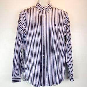 Ralph Lauren blue striped button down shirt sz M